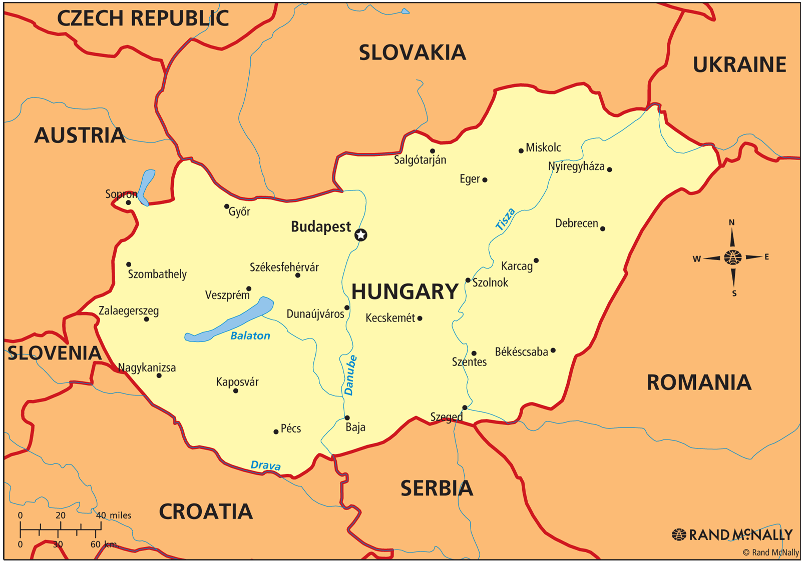 Hungary Political Map.Hungary Political Map