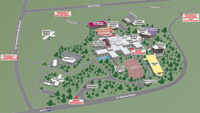 sheppard pratt campus map Gbmc Main Entrance6701 N Charles St Towson Md 21204