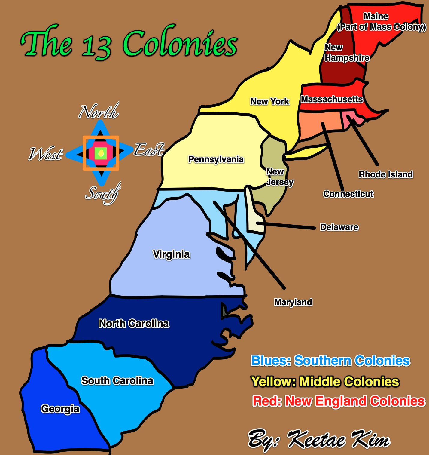 the colonies of england Thirteen colonies were originally part of it,  the 13 colonies were divided into three: new england colonies, middle colonies and southern colonies.