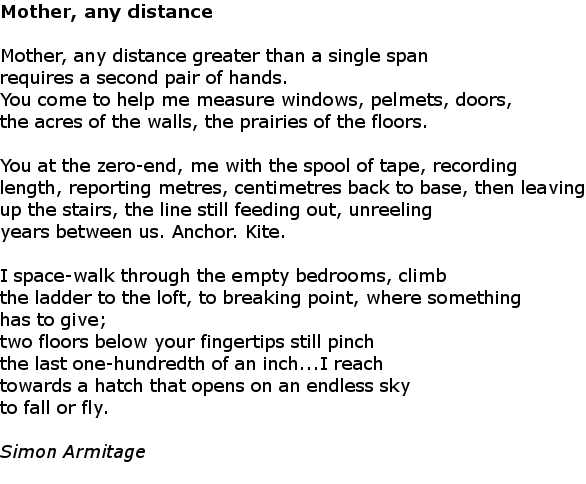 mother any distance We had been studying praise song for my mother and i wanted to give students an unseen poem to compare in preparation for the exam in year 11 i asked a volunteer to measure various things of increasing size using first a ruler and then a tape-measure.
