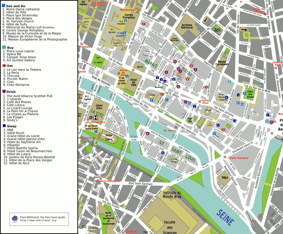 Paris Map District.The 4th Arrondissement Of Paris