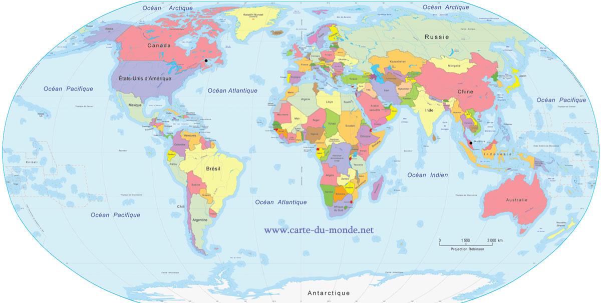 carte du monde en français à imprimer L'énergie marémotrice dans le monde.