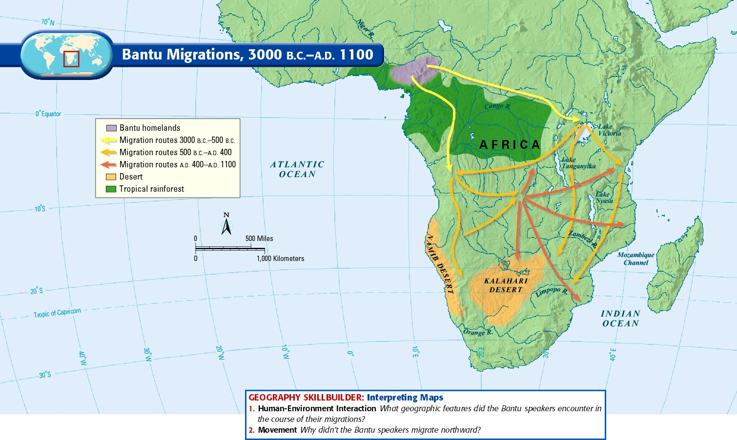 bantu migration The last of these nodes (node 8) roughly corresponds to the point at which the southeasterly bantu migration reaches the southern boundary of the rainforest,.