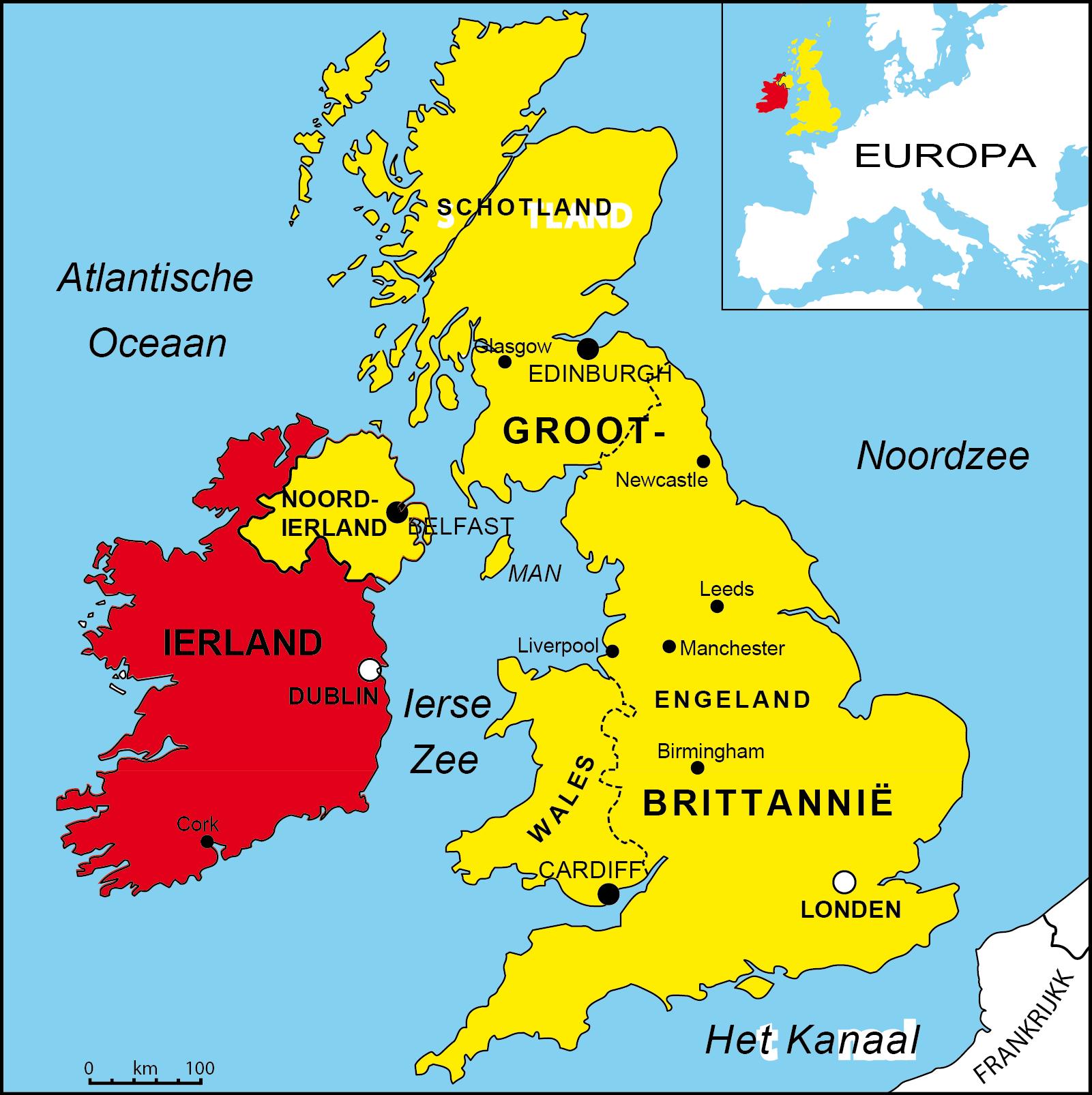 kaart groot brittannië