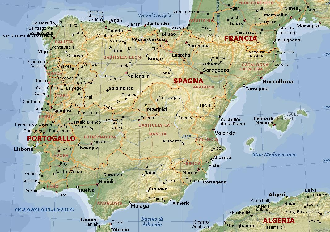 Portogallo E Spagna Cartina.Spagna E Portogallo