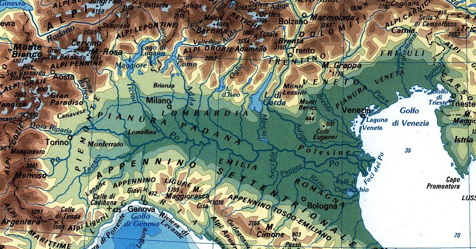 Cartina Fisica Dell Italia Settentrionale.L Italia Settentrionale