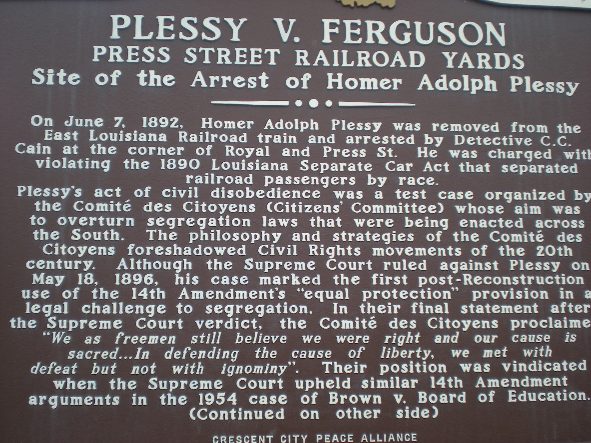 the impact of the 1896 supreme court verdict in the racial segregation case plessy versus ferguson