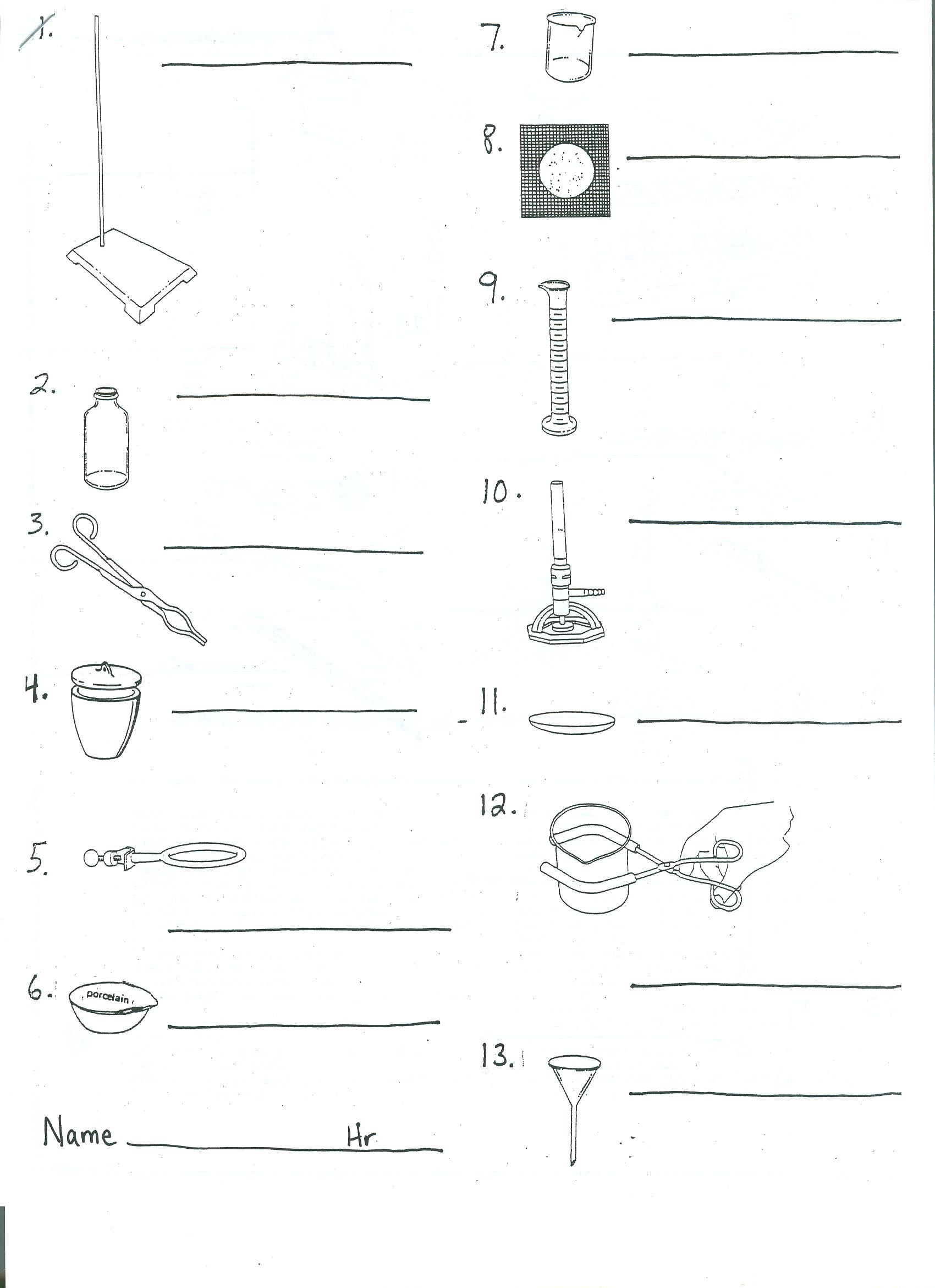 Printables Identifying Lab Equipment Worksheet lab equipment worksheet davezan davezan
