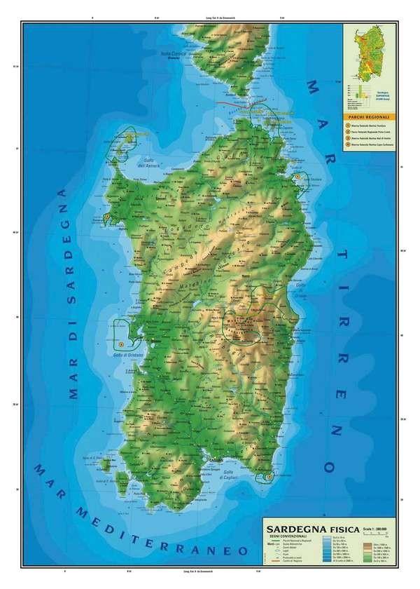Immagini Della Cartina Geografica Della Sardegna.Sardegna Fisica