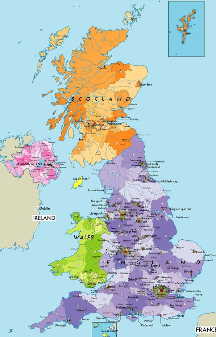 Gran Bretagna Cartina.La Gran Bretagna E Quasi Interamente Pianeggiante E Coll