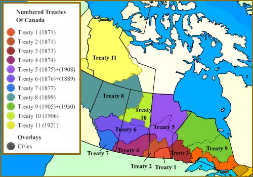 Treaties Of Canada Map Canadian Treaties Map