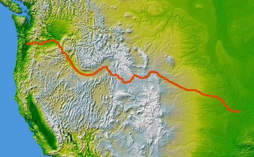 Oregon Trail Map from St  Joseph Missouri to Oregon City,