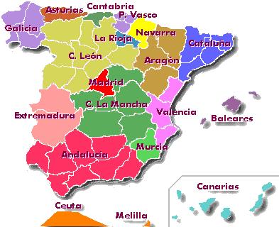 Mapa De España Comunidades Mudo.Comunidades Autonomas