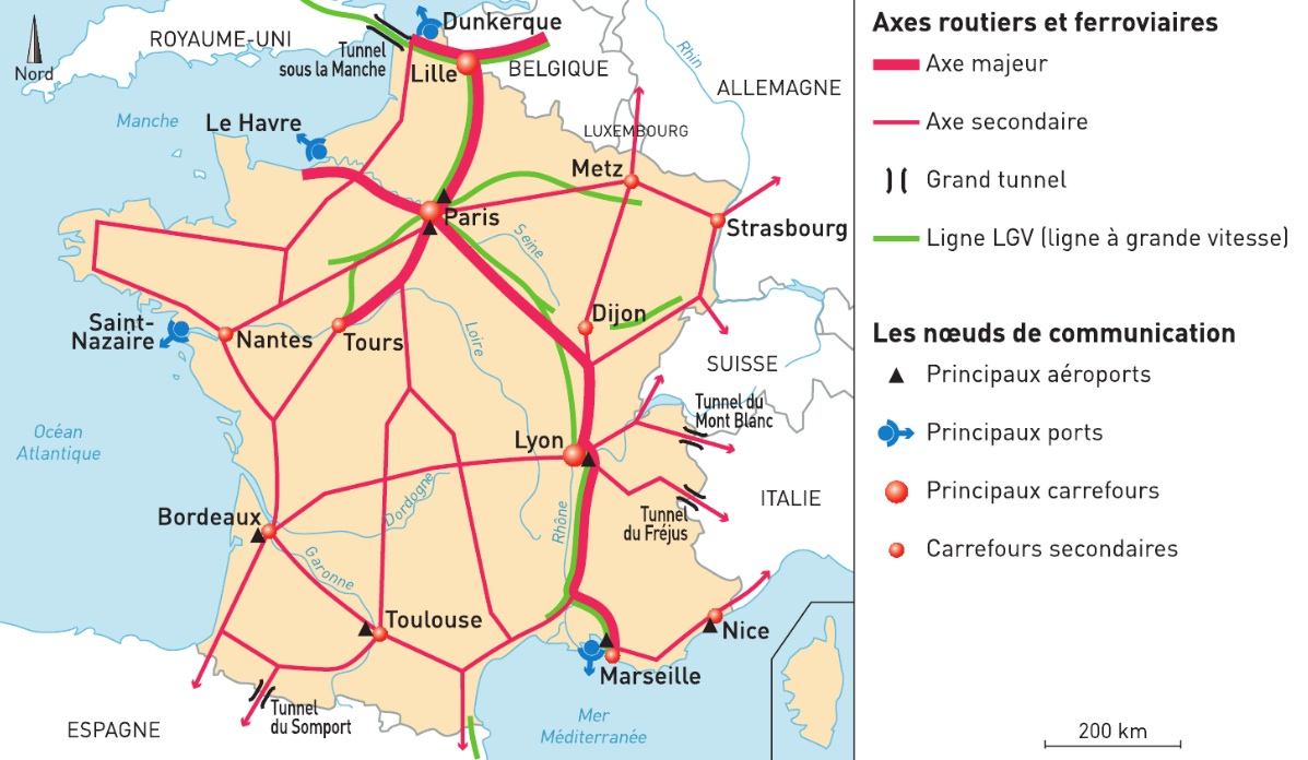 carte de france grands axes Aménagement du territoire en France
