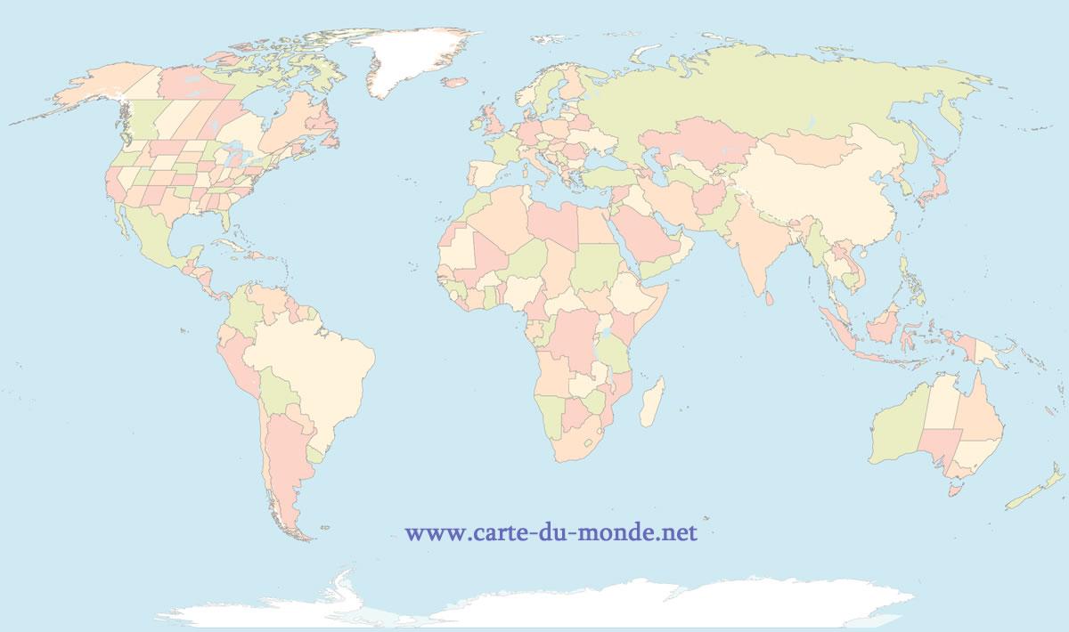 carte du monde en français à imprimer Royaume Uni