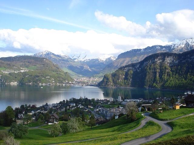 Sveitsin Lippu Sveitsin Kartta Maisemia Faktoja Sveits