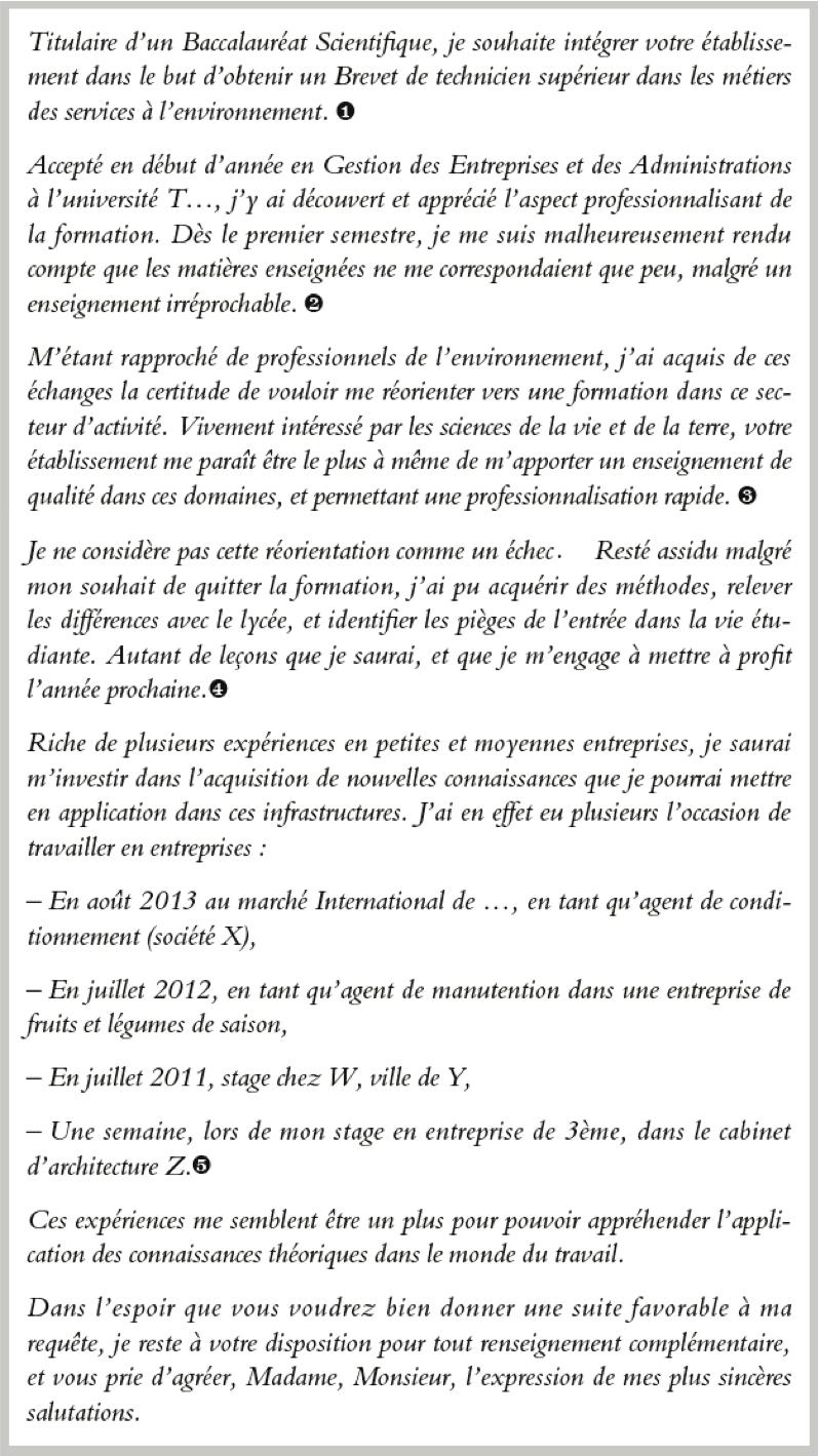 Lettre De Motivation Pour Un Bts Mse Exemple 3