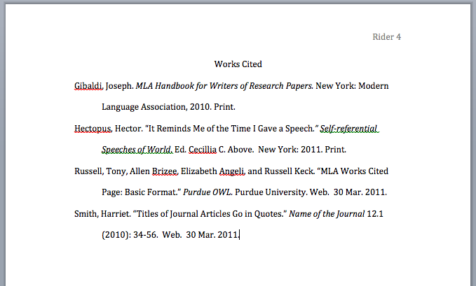 work cited page mla format