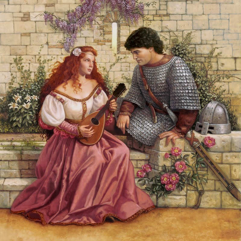 Image result for courtly love. Man with chain mail sitting on the castle wall with a redheaded woman looking pissed off.