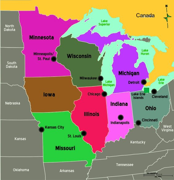 Midwest Region ThingLink - Map of the us midwest