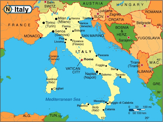 relative location of italy