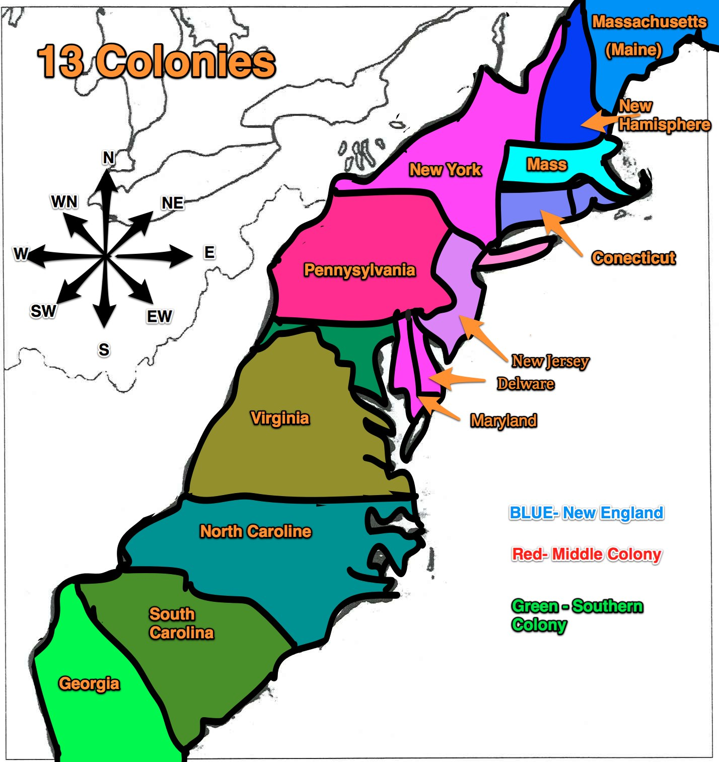 The Thirteen Colonies - ThingLink