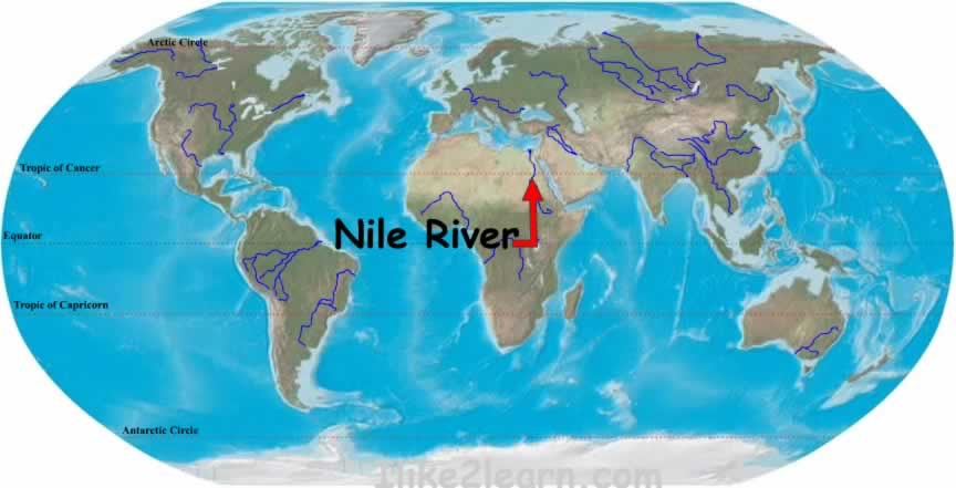 Nile River On World Map Timekeeperwatches - Nile river location on world map