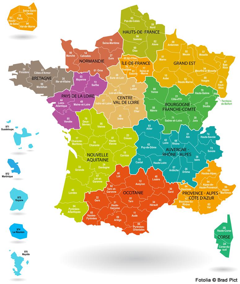 carte de france avec régions Les nouvelles régions