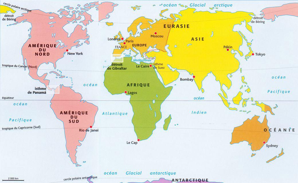 carte du monde continents et océans Carte des espèces invasives et autochtones
