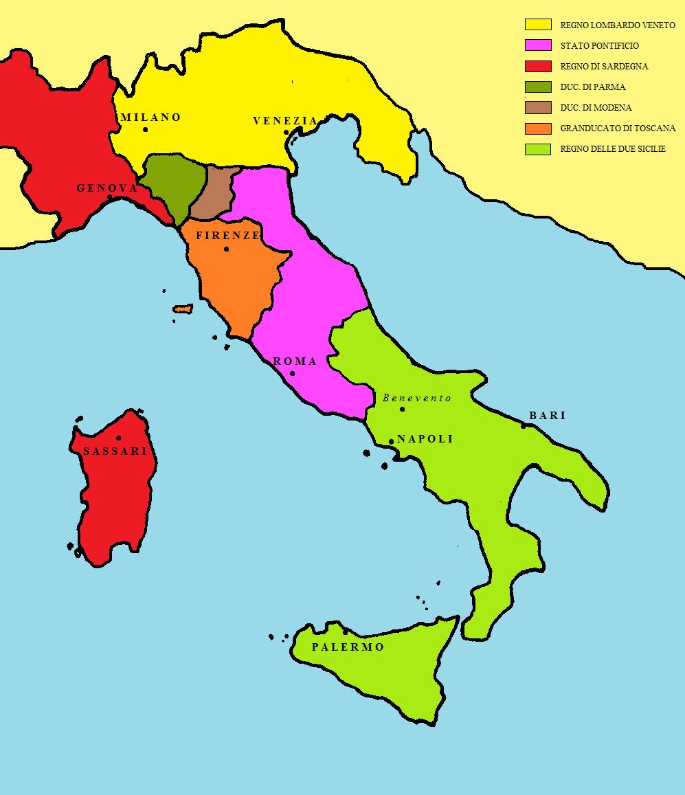Cartina Dell Italia Nel 1815.L Italia Del 1815