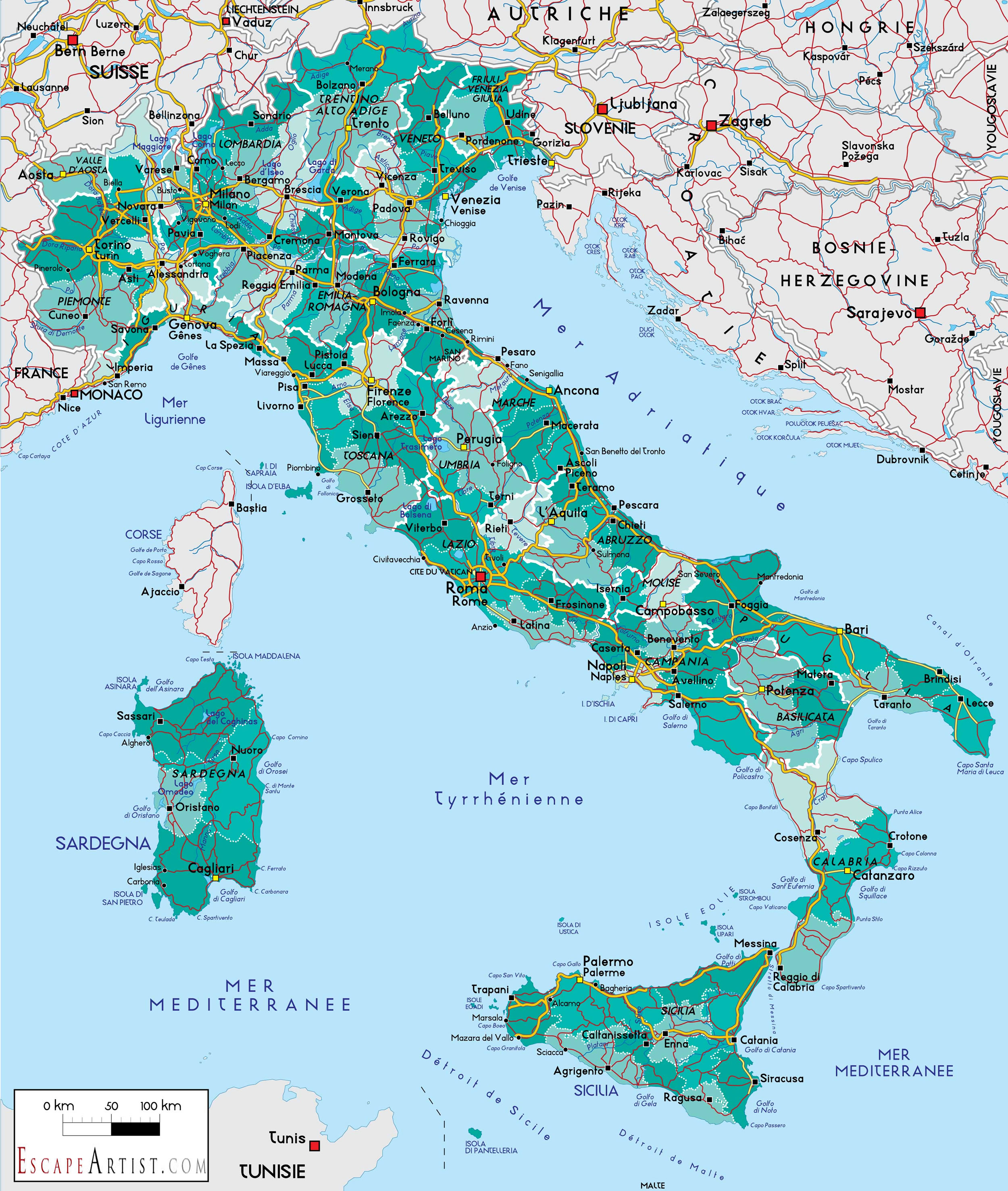 Italy map hd ausdrucken italy map hd gumiabroncs Choice Image