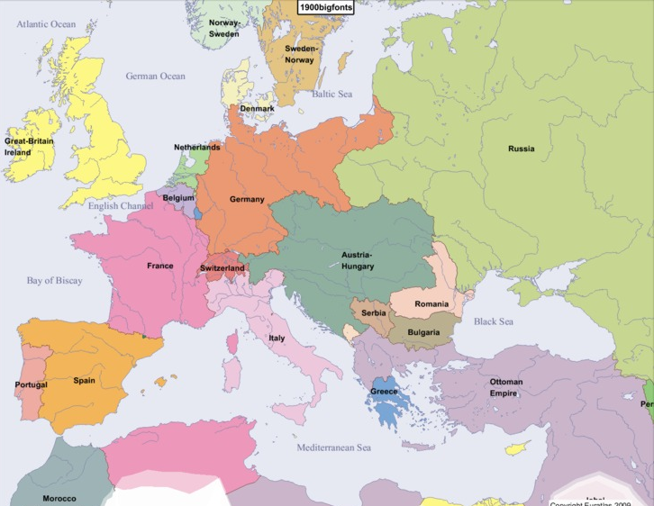 Map of Europe in the Late 19th Century