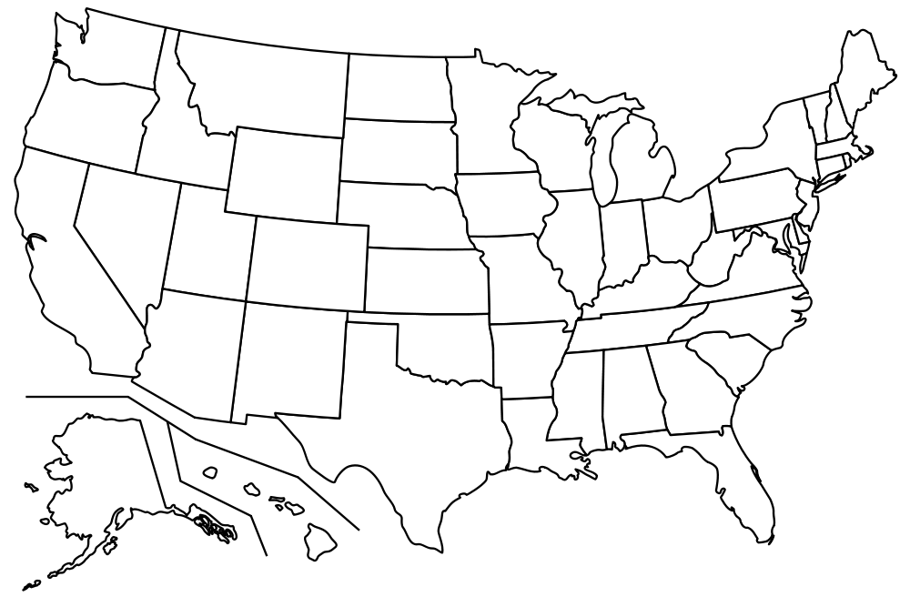 Blank USA MAP WITH SOME FILLED ThingLink - Us map with scale