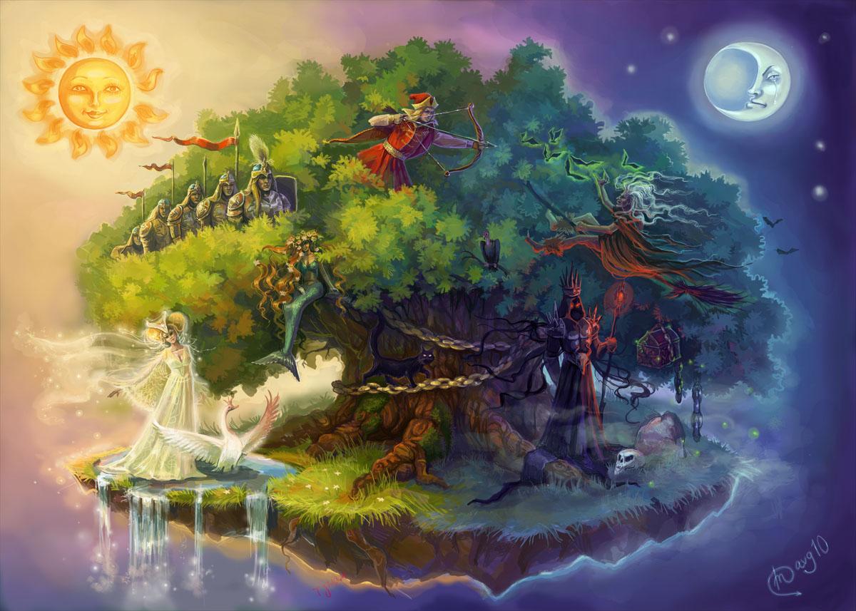 Рисунки дуба в сказках
