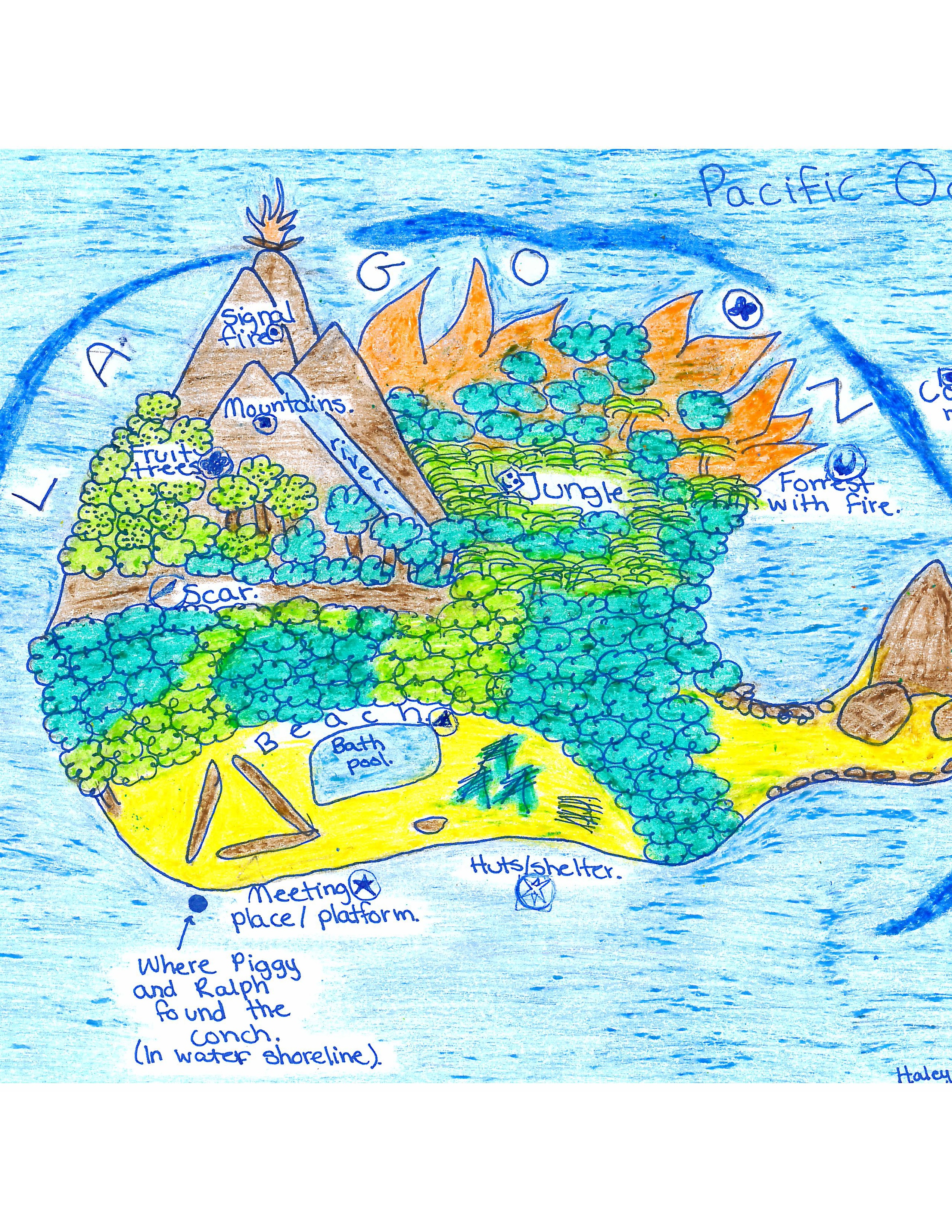 Lord Of The Flies Map Of The Island The Lord Of the Flies Island Map.