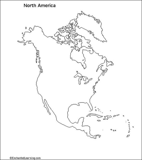 North America Map Physical Blank: North America Physical Map Blank At Slyspyder.com