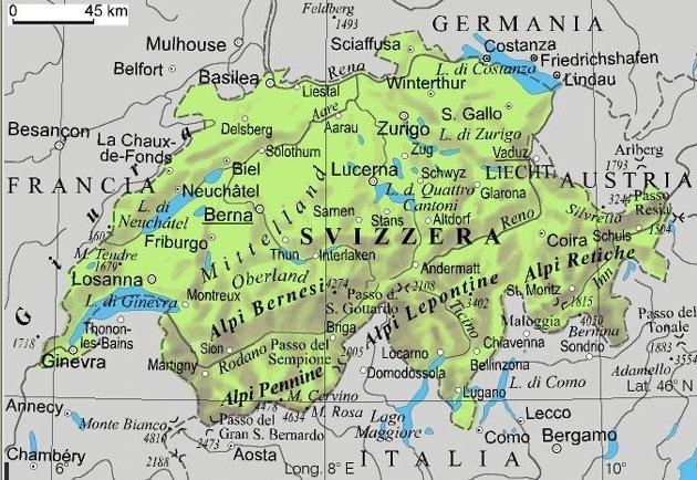 La Cartina Geografica Della Svizzera.Svizzera Mappa Interattiva