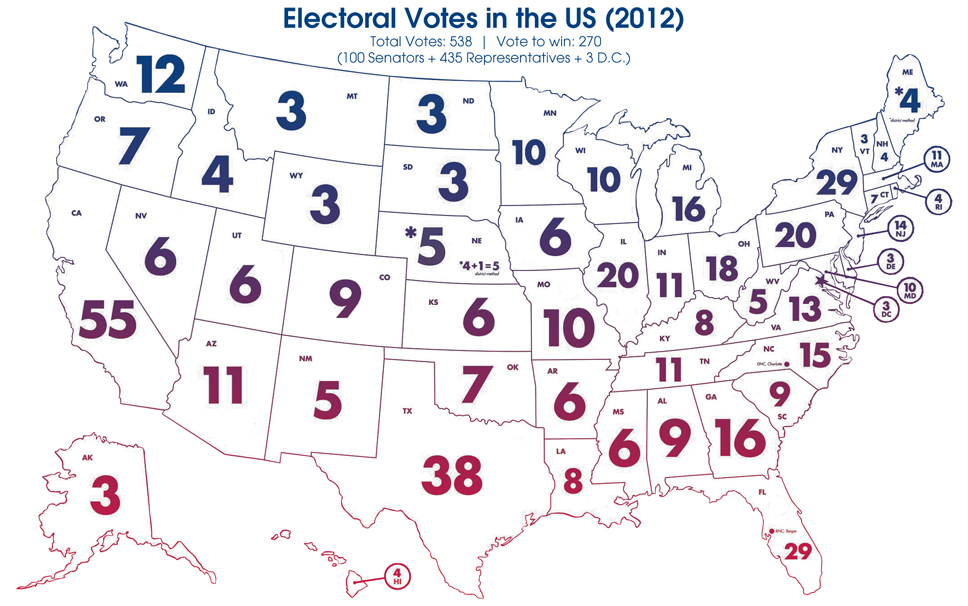 The Electoral College ThingLink - Us electoral votes map