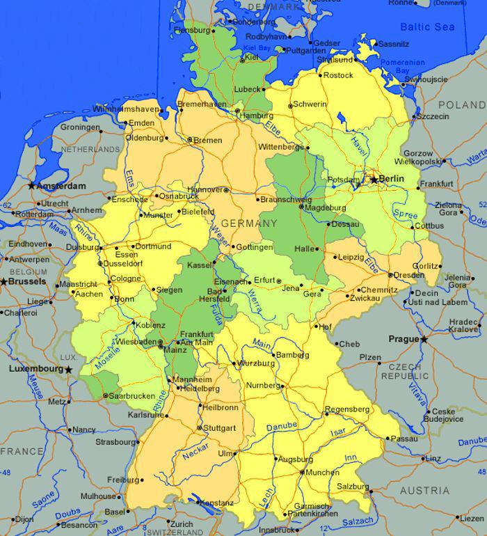 Germania Mappa Fisica